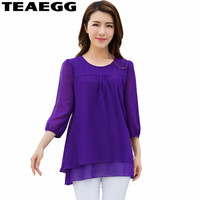 TEAEGG Purple Womens Summer Tops And Blouses Chiffon Tops Mujer Verano 2018 Loose Woman Shirt Plus Size 4XL 5XL 6XL BlouseAL1097