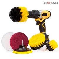 6 pçs/set accessary conjunto de escova purificador do banheiro doméstico multifuncional broca acessório kit limpeza power rotating esponja|Escovas de limpeza| |  -