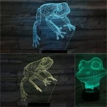 Animal Frog 3D Lamp Desk Bedside Lampara Home Decor luminaria Decorative Child Kids Baby Gift RBG Changing LED Night Light