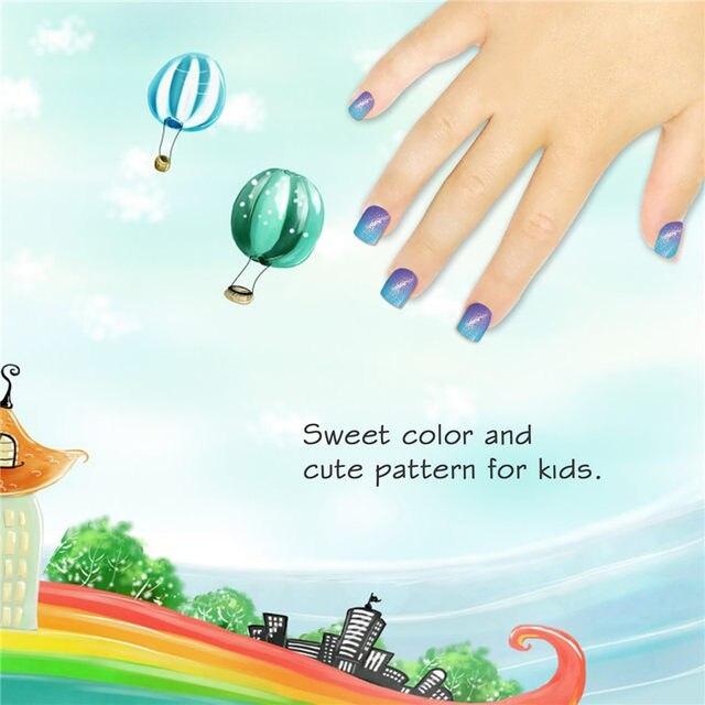 Online Shop Press On Kids False Nail With Design 24pcs Blue Purple