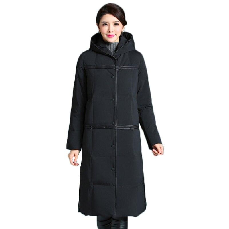 Women down jacket 2018 new Middle-aged mother down coat winter jacket female hooded long overcoat warm women down jacket