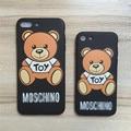 Para iphone 6 case litchi luxo textu suave tpu voltar capa case para iphone 6 s plus urso dos desenhos animados casos de telefone para o iphone 7 plus