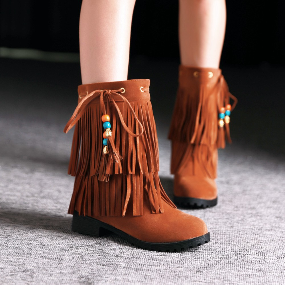 a2e81dd1e2bd Low Heel Tassel Flock Pearl Pendant Women Autumn Winter Ankle Boots Lady  Fringe Casual Suede Short Boots Plus Size 34 43 SXQ0528-in Ankle Boots from  Shoes ...
