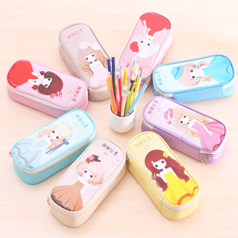 Kawaii School Pencil Case for Girls Large Capacity PU Leather Pencil Box Pencil Bag Stationery Supplies Chrismas Gift for Kids new leather pencil case bag for school boys girls vintage pencil case box stationery products supplies as gift for student