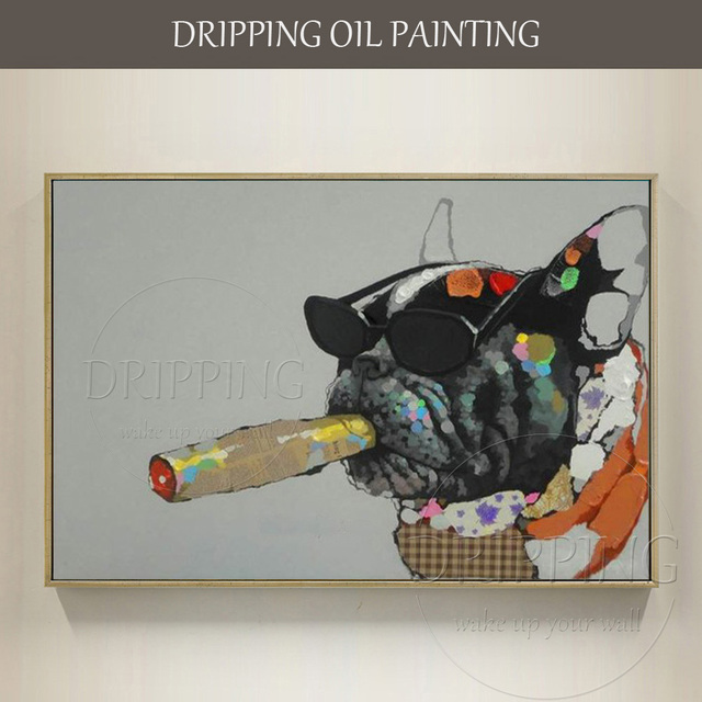 Funny Design Hand Painted Modern Art Animal Oil Painting On Canvas Funny  Smoking French Bulldog