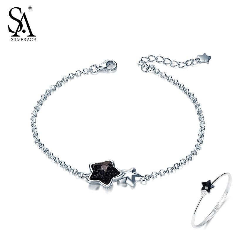 SA SILVERAGE Black Gemstone Star Bracelets Bangles for Women 925 Sterling Silver Aventurine Bracelet Women Fine