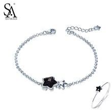 Sa silverage черный камень Star Браслеты для Для женщин 925 серебро браслет авантюрин Для женщин Красивые ювелирные изделия