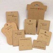 100 шт крафт-бумага ручной работы с любовью ювелирные изделия дисплеи карты, ожерелье/серьги/шпилька/кулон упаковочные карты