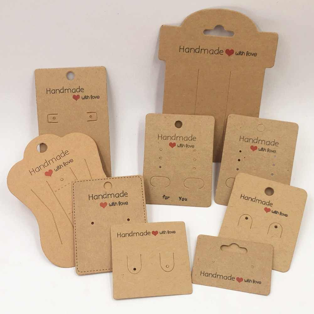 100pcs Kraft Paper Handmade With Love Jewelry Displays Cards,Necklace/Earring/Hairpin/Pendant Packaging Cards