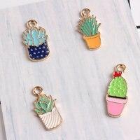 10pcs/lot Fashion Colorful Drop Oil Enamel Charms potted plant Pendant for DIY Jewelry Bracelet Necklace Making
