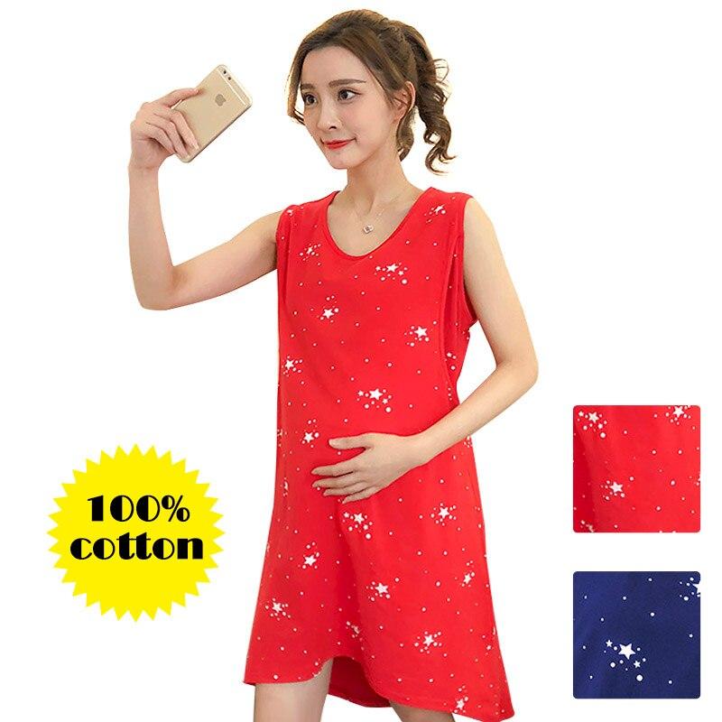 100% Cotton Maternity Dress Nursing Clothes Sleepwear Thin For Pregnant Women Pajamas Cartoon Pyjama Breastfeeding Nightwear