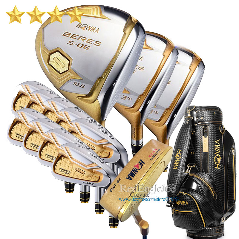 New Compelete Club Set HONMA S-06 4 Star Golf Clubs Driver Fairway Wood Irons Bag Putter Graphite Golf Shaft Free Shipping