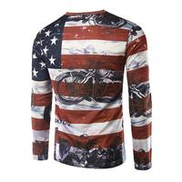 Spring And Autumn Models Men Slim American Flag O Neck Long Sleeve Casual Tees T Shirt