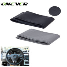 Onever Leather Car Steering Wheel Cover Auto Car Stitch On Wrap Cover for Diameter 38cm Car Steering Wheel protective Cover