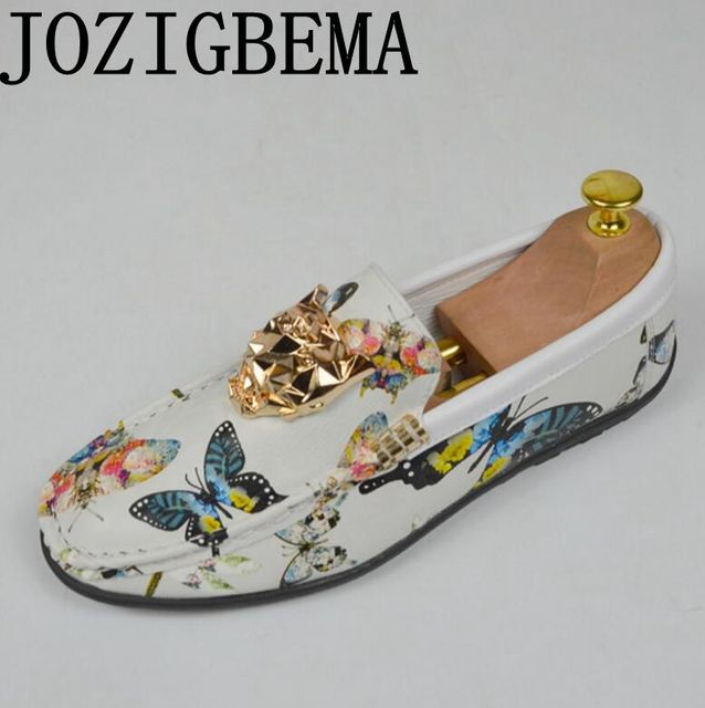c72ae236af6f4 US $29.03 40% OFF|JOZIGBEMA Men's loafers leisure print butterfly lion head  flat shoes driving office shoes men's shoes-in Men's Casual Shoes from ...