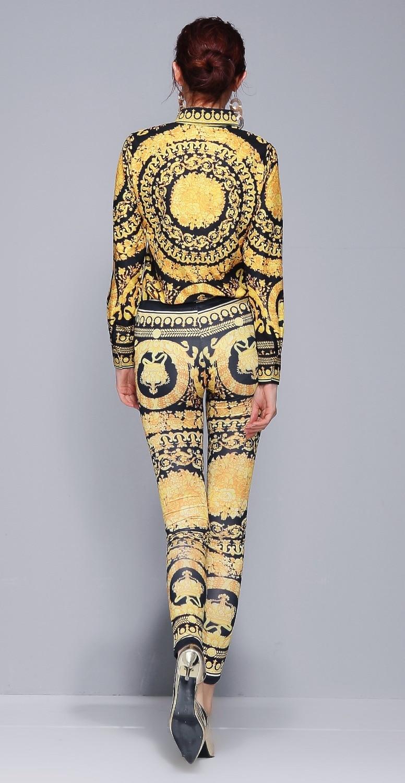 Neue 2018 Herbst Runway 3 stück Frauen Sets Retro Vintage Barock Print Top Shirt Bluse + Rock + Elastische Leggings hose Anzüge Luxus