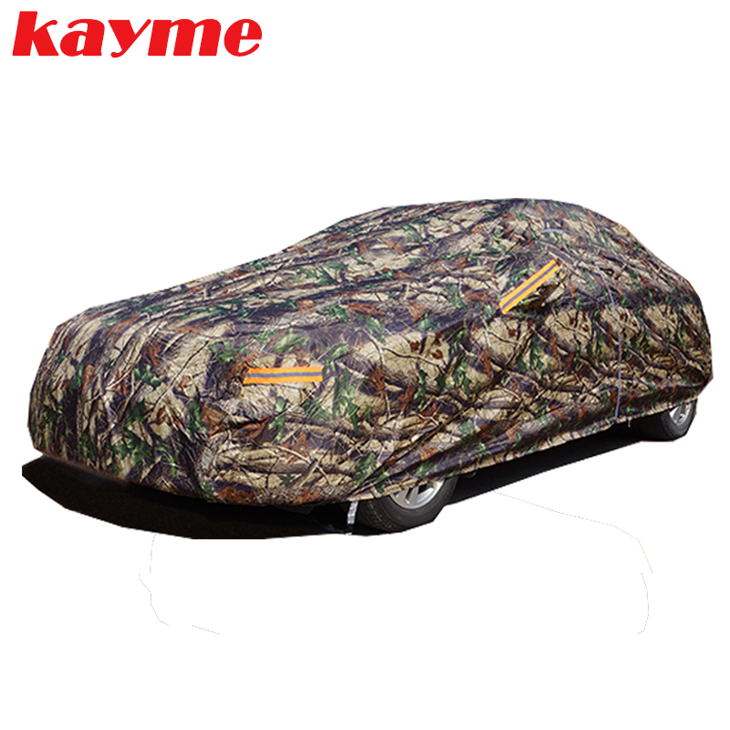 Kayme Camouflage waterproof car covers outdoor cotton sun protection dust rain snow protective suv sedan hatchback cover for car kayme waterproof full car covers sun dust rain protection car cover auto suv protective for mercedes benz w203 w211 w204 cla 210