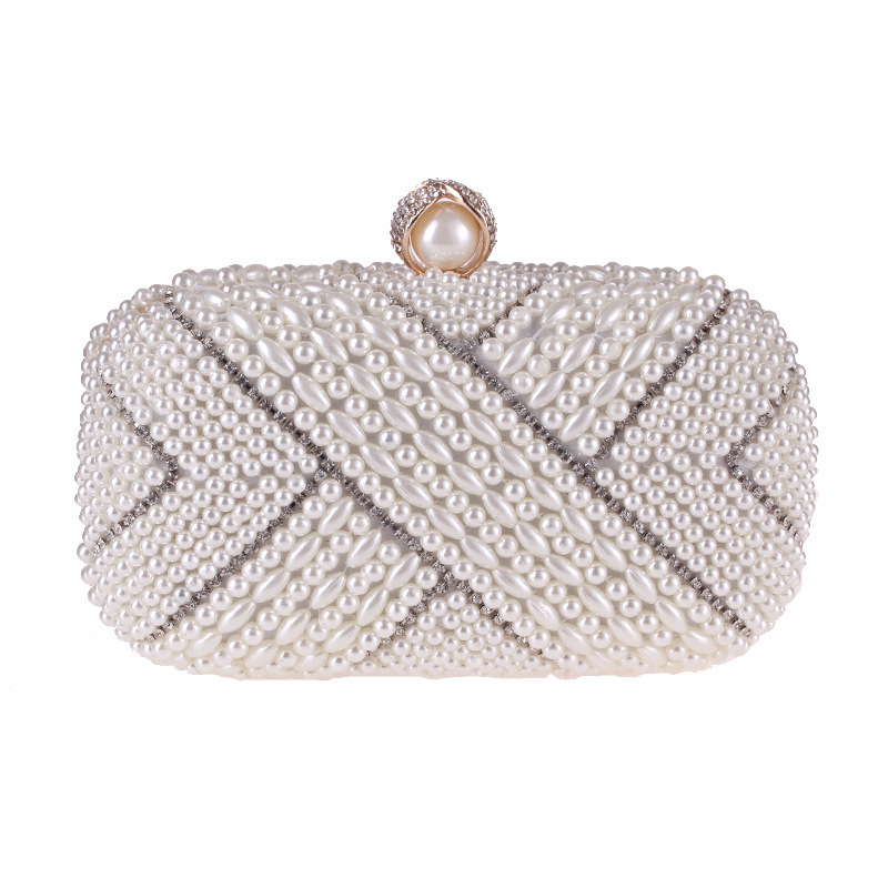 Luxury Clutch Purse Studded with Rhinestone and Pearls, Crystal Evening Bag for Wedding Party, Chain Bag luxury and exquisite fish shape crystals rhinestone hard case clutch evening party bag wedding handbag