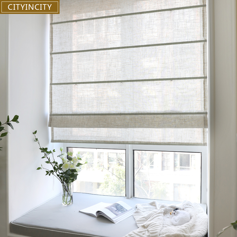 CITYINCITY Solid roman blind Faux linen curtain For living room japan style roman blinds roller for
