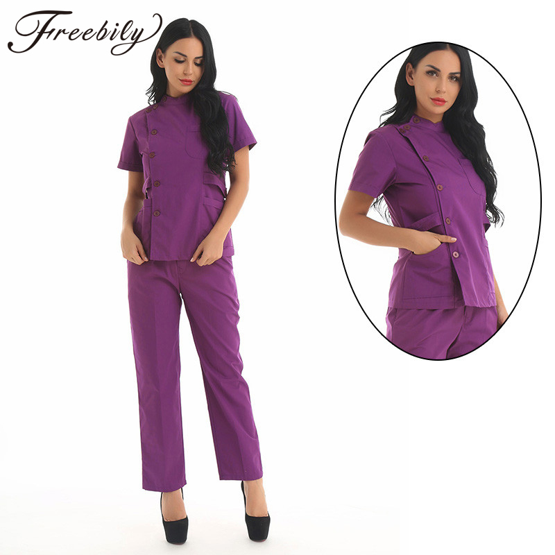New Summer Women Hospital Medical Scrub Clothes Set Fashionable Design Slim Fit Dental Scrubs Beauty Salon Doctors Nurse Uniform