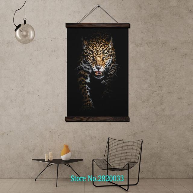 Hunting cheetah Framed Scroll Painting HD Wall Art Hanging Canvas ...