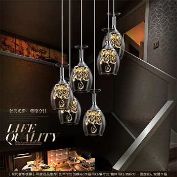Personalized LED wine glass chandelier living room dining room bar lamp decorative lamp crystal chandelier free shipping