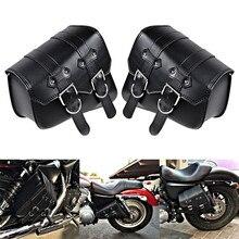 2x Black Motorcycle PU Leather Cruiser Side Saddle Bag for Harley Davidson Dyna Sportster Cruiser Fat Bob XL883 XL1200 недорого