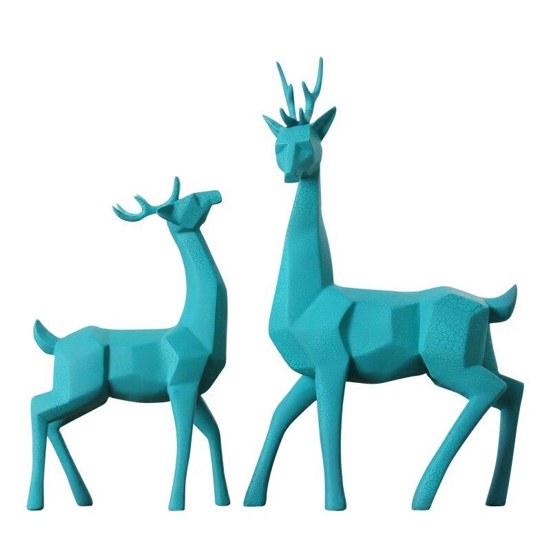 Meijswxj 2017 Harz Modell Nette Deer Handwerk Ornament DIY Rehe Eine Paar Wohnzimmer Tv Schrank