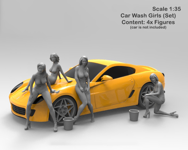 Free Shipping 1/35 Scale Unpainted Resin Figure Car wash girls 4 pcs ( car is not included ) collection figure