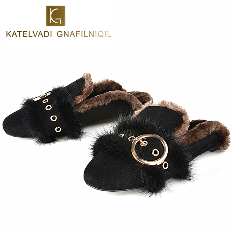 Women Shoes Keep Warm Winter Shoes Woman Flats Slippers Slip On Female Flats Fur Loafers Plush Winter Shoe Boat Size 35-41 K-081 2017 totoro plush slippers with leaf pantoufle femme women shoes woman house animal warm big animal woman funny adult slippers