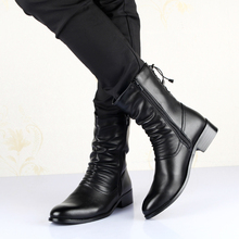 2019 Casual Male Shoes Fashion Nightclub Men Black Strap Mens Motorcycle Boots Soft Leather Punk 7#27E50