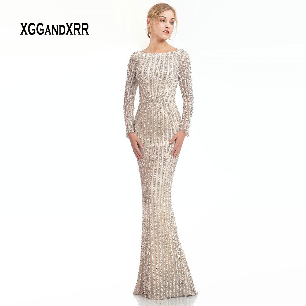 Luxury Long Sleeves Mermaid   Evening     Dress   2019 Full Beading Crystal Prom   Dress   Sexy Low Back Back Slit Nude Formal Party Gown
