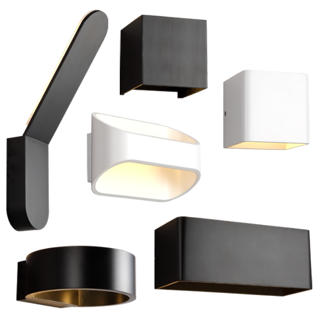 Iwhd Nordic Modern Led Wall Light Fixtures Bathroom Mirror Bedroom Beside White Black Lamp Sconces