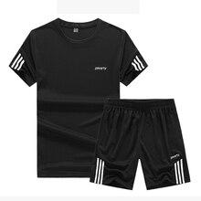 2019 Summer Sets Men T Shirts+Shorts 2 pieces set Cotton Comfortable Short Sleeve men Casual Striped Set letter print Tracksuits