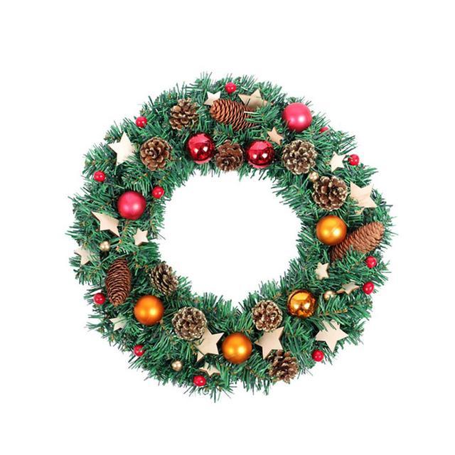 Christmas Wreath Wooden Card Star Light Mall Hotel Window Decoration
