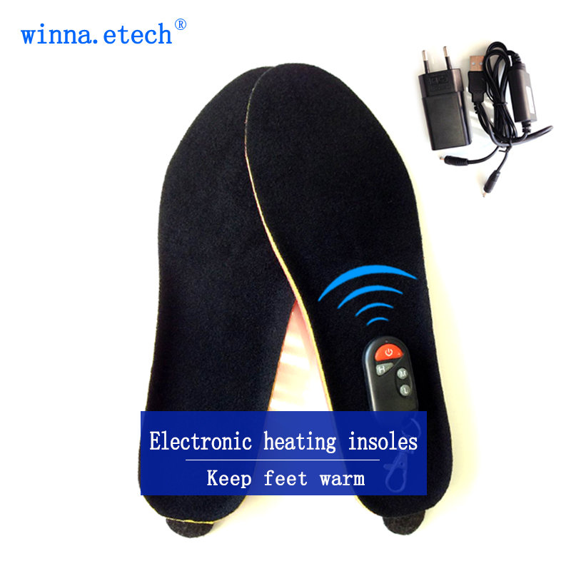 Free delivery remote control warm shoe innerinsoles winter outdoor sports heating insole battery 1800 mah