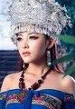 Kong Opaco Ling Traje Miao cabelo prateado acessório chapéu traje Miao Chapéu e Miao colar De Prata Colar