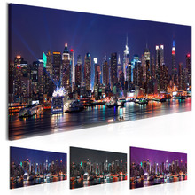 NEW YORK Night Scene Posters Prints High Rise Buildings Wall Art City View Canvas Painting Pictures for Living Room Decor