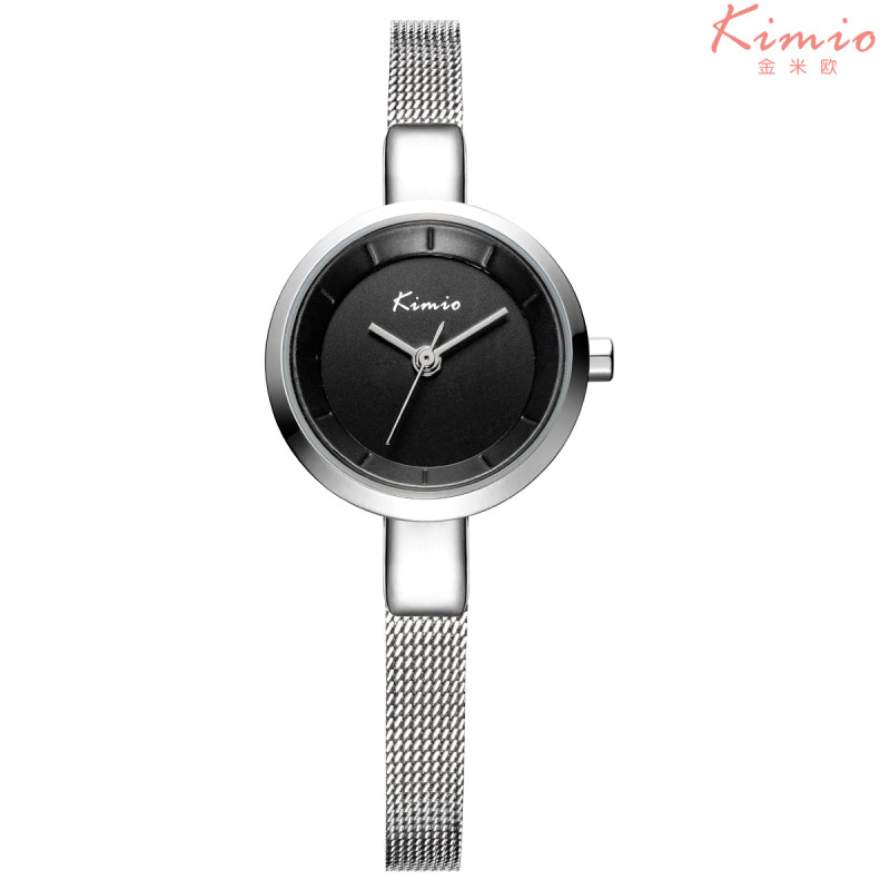 KIMIO Small Round Dial Woven Mesh Band Quartz Women Watch Famous Luxury Brand Simple Casual Ladies Wrist Watches For Women K6115 2016 brand kimio watch women ladies luxury brand fashion casual orange genuine leather watch band square blue dial wristwatches