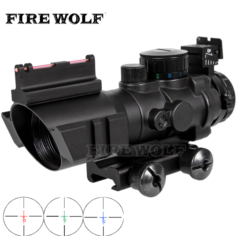 FIRE WOLF 4x32CB Riflescope 20mm Dovetail Reflex Optics Scope Tactical Sight For Hunting  Rifle Airsoft Sniper  Air Soft
