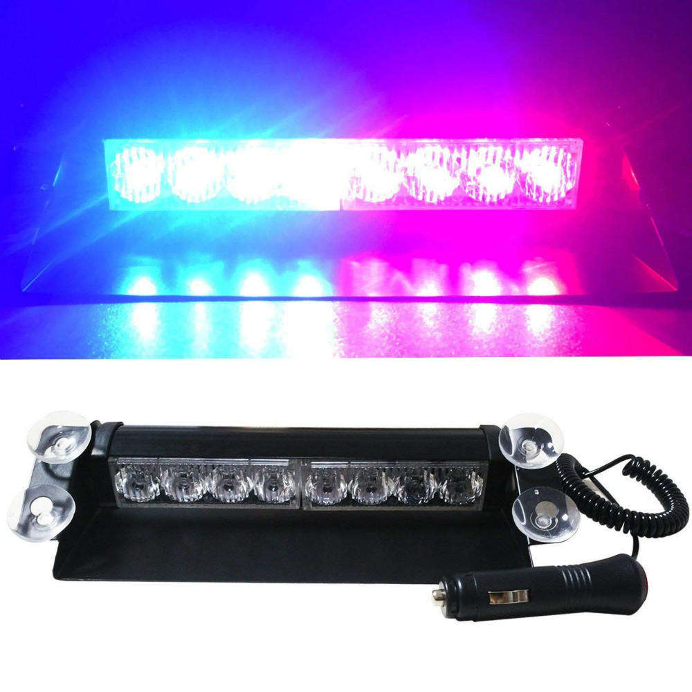 GZKAFOLEE Car Truck Emergency Flasher Dash Strobe 8 LEDs 3 Flashing Modes Warning Light Day Running Flash Led Police Lights 12V luces led de policía