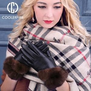 Image 3 - Coolerfirnew Designer Wome Handschoenen Hoge Kwaliteit Echt Leer Schapenvacht Wanten Warme Winter Handschoenen Voor Mode Vrouwelijke ST013