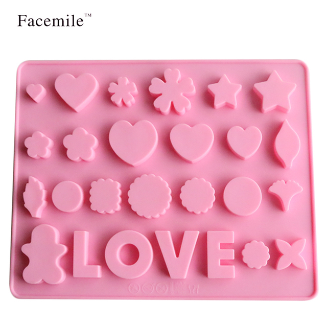Facemile LOVE Silicone Mold Rectangular Christmas Chocolate Mold As Jelly U0026  Candy Pudding Ice Cube Tray