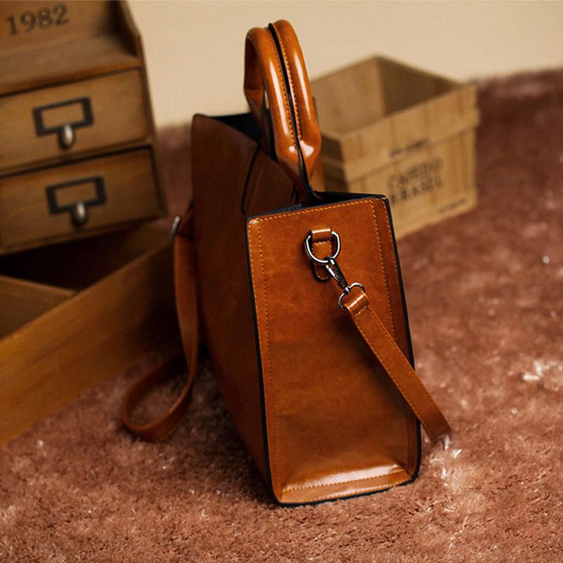 new women luxury bags designers handbags Women oil wax leather handbag Simple Fashion Commuter tote bag shoulder bag bolsos