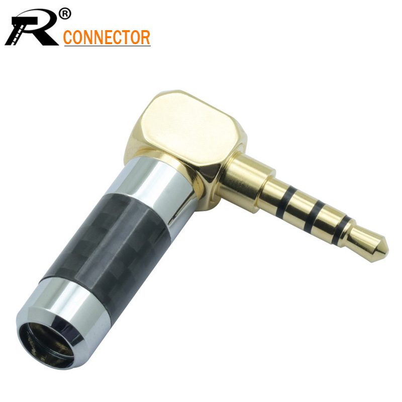 1pc Right Angle MINI Jack 3.5mm 4 Pole Stereo Male Plug Carbon Fiber Adapter Solder Connector Fit For 6mm Cable
