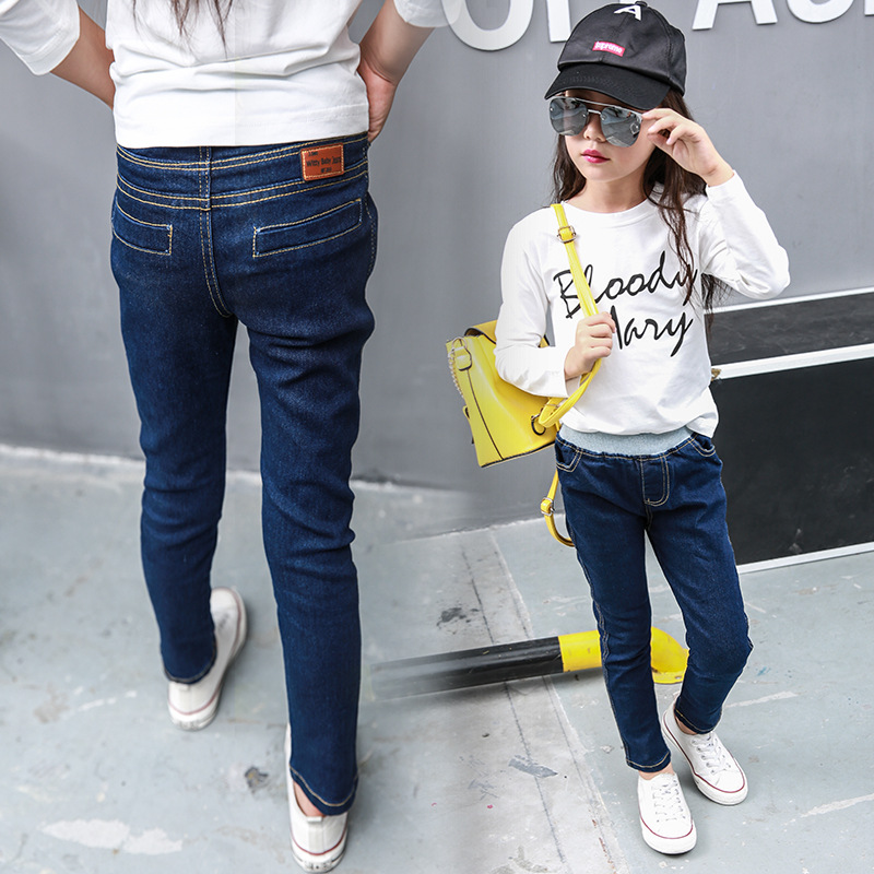 Children denim Pants girls thickened jeans baby kids solid leggings 2018 winter children's clothes girl cotton pencil trousers children s clothes girls autumn cotton pants kids casual jeans leggings blue color female child star hole trousers pencil pants