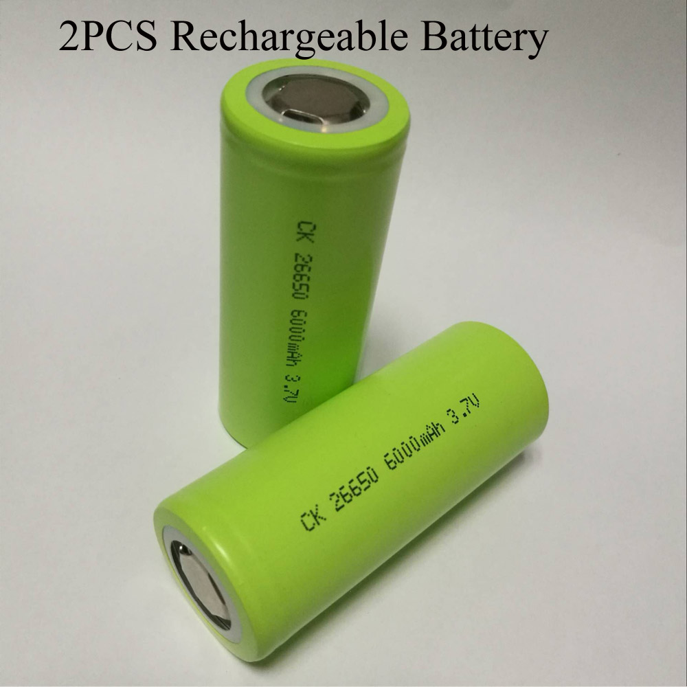 Soravess 2-4PCS 26650 Lithium <font><b>Ion</b></font> <font><b>Rechargeable</b></font> <font><b>Battery</b></font> <font><b>3.7V</b></font> <font><b>6000mAh</b></font> 50A Suitable <font><b>Li</b></font>-<font><b>ion</b></font> <font><b>Batteries</b></font> For Flashlight image