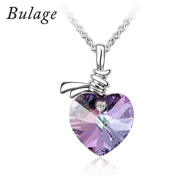 2017 Bulage Romantic Heart Necklaces&Pendants Crystals From Swarovski Jewelry For Women Lovers Valentine's Day Gift