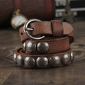 Metal rivet belt first layer of cowhide genuine leather belt lovers male women's strap punk designer belts