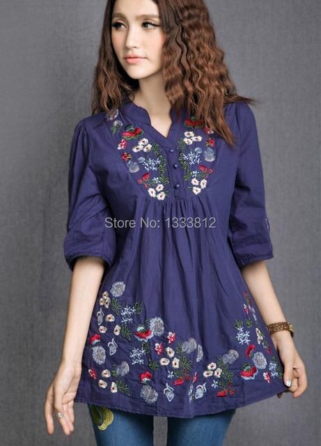 0683f8265 € 11.6 |Vintage mexicano flor étnica bordado mujeres vestido BOHO Hippie  Mini Vestidos mujeres ropa Casual blusa Vestidos en Vestidos de Ropa de ...